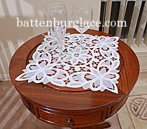 square doilies, square placemats, white and ecru color