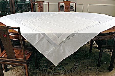 Elegant Square Irish 70 And 90 Inches Square Tablecloth. Traditional Single Line Of  Hemsitches. All Hand Sewn.