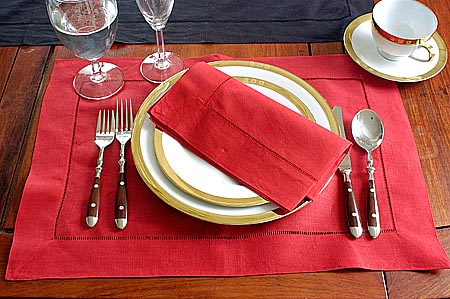 christmas red color placemat napkin hemstitch design - Christmas Placemats And Napkins
