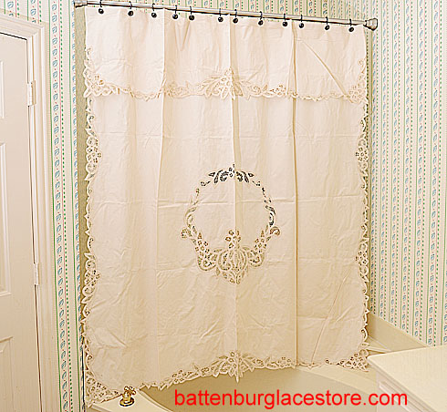 Canterbury Style Shower Curtain With Battenburg Lace