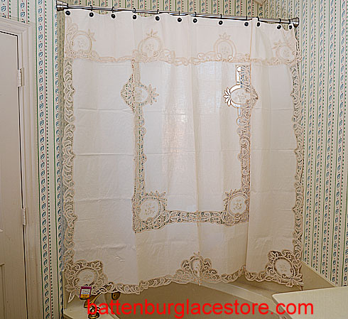 Pineapple Battenburg Shower Curtain With Matching Valances Length68 Width 70 6999 Each