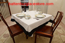 Delightful 54 Inches Square Tablecloth White With Black Trims. (on A 36 In Table)