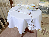 table topper, table round topper 34 in. lace toppers, round tablecloths.