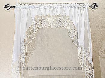 Battenburg Lace Long Window Curtain Set. Battenburg Lace Valance.