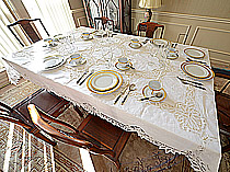 Battenburg Lace Tablecloth White Color. Round And Rectangular Sizes.