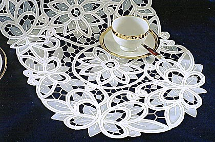 Christina Style Oval Shape Erfly Lace Dresser Scarf Table Runner Available In White Or Ecru Color