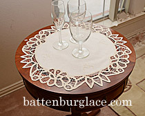 original battenburg lace in round placemats, white and ecru color.